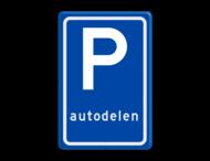 Verkeersbord RVV E08r - Parkeerplaats autodelers