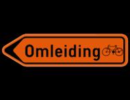 Verkeersbord SB250 F41 - Wegwijzer omleiding voor fietsers Links