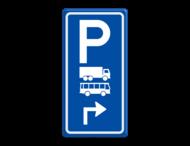 Parkeerroutebord E8a vrachtwagens en bussen met pijl