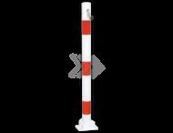 Parkeerpaal Ø60-76mm rood wit - neerklapbaar met bodemmontage