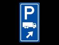 Parkeerroutebord E8c vrachtwagens met pijl