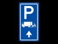 Parkeerroutebord E7 laden/lossen vrachtwagens met aanpasbare pijl