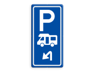 Parkeerroutebord E8n camper met pijl