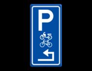 Parkeerroutebord E8m (brom-)fietsen met pijl