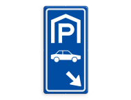 Parkeerroutebord E8 auto met pijl