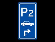 Parkeerroutebord E8 auto met aanpasbare nummer en pijl pijl