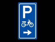 Parkeerroutebord E8e bromfietsen met aanpasbare pijl