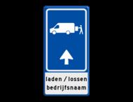 Parkeerroutebord E8p laden en lossen busje met aanpasbare pijl en bedrijfsnaam