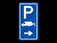 Parkeerroutebord E7b laden/lossen busje met aanpasbare pijl