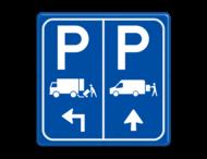 Parkeerbord E07 vrachtwagen en transporterbusje et aanpasbare pijl