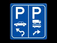 Parkeerbord E8+E8a auto en vrachtwagen+bus met aanpasbare pijl