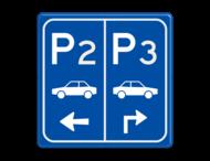 Parkeerbord E8 auto met aanpasbare nummer enpijl