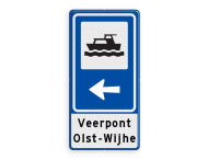 Routebord BW101 (blauw) - 1 pictogram met aanpasbare pijl en tekstvlak