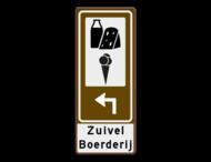 Routebord BW101 (bruin) - 2 pictogrammen aanpasbare pijl en tekstvlak