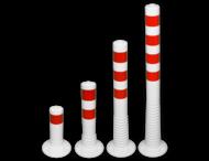 Kunststof flexibele afzetpaal wit rood Ø80mm - overrijdbaar