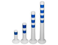 Kunststof flexibele afzetpaal wit blauw Ø80mm - overrijdbaar