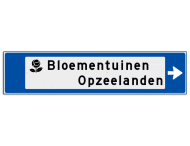 Verwijsbord object (blauw) - met 1 pictogram, 2 regel tekst en pijl
