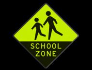 Verkeersbord - Schoolzone met extra opvallende Geel-Groen FLUOR reflex