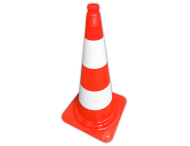 Afzetkegel PVC 750mm met grijpnok - oranje/wit