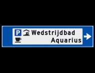 Verwijsbord object (blauw) - met 3 pictogrammen, 2 regel tekst en pijl