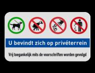 Informatiebord Privéterrein - honden aan de lijn - geen hondepoep - niet plukken - afval opruimen