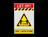 Veiligheidsbord 1,5 meter afstand houden verplicht
