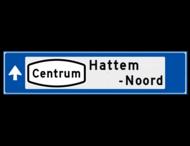 Verwijsbord object (blauw) - met Routepictogram, 2 regel tekst en pijl