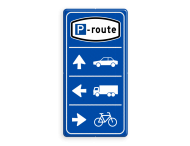 Parkeerroutebord 3 richtingen met pijlen