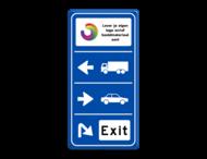 Routebord 3 richtingen met aanpasbare pijlen