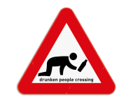 Verkeersbord - Drunken People Crossing