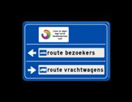 Routebord 2 richtingen met aanpasbare tekst pijlen