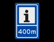 Verkeersbord RVV BW101S104-400 - Informatiepuntverwijzing met afstandsaanduiding