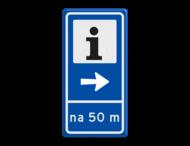 Verkeersbord RVV BW101S104 - Informatiekantoor met aanpasbare pijlrichting en afstandsaanduiding
