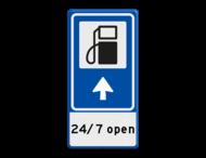 Verkeersbord RVV BW101Sp10 - Pompstation met aanpasbare pijlrichting