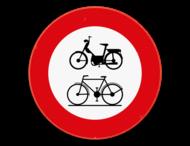 Verkeersbord SB250 C9-C11 - Verboden toegang voor bestuurders van bromfietsen en fietsen