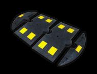 Verkeersdrempel rubber < 20km/u - begin/eindstuk - 800x150x50mm - geel/zwart
