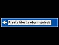 Verwijsbord object (blauw) - met tekst en pijl (zonder pictogrammen)
