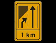 Omleidingsbord WIU T32-2r met afstand geel/zwart