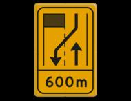 Omleidingsbord WIU T31-2r met afstand geel/zwart