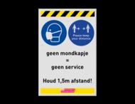 Bord geen mondkapje geen service - afstand houden