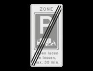 Zonebord laden en lossen - RVV E07 einde zone met ondertekst