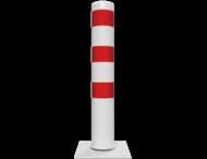 Rampaal Kantelbaar Ø152 met voetplaat, wit/rood