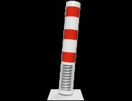 Rampaal staal - flexibel tot 15 graden - Ø152mm met voetplaat - wit/rood