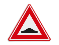 Verkeersbord RVV J38 - Vooraanduiding verkeersdrempel