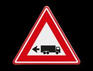 Verkeersbord - waarschuwing links achteruitrijdende vrachtwagen
