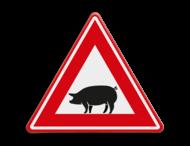 Verkeersbord - waarschuwing overstekende varkens