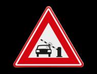 Verkeersbord  - waarschuwing auto's voor dalende slagboom