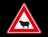 Verkeersbord - waarschuwing overstekende schaap