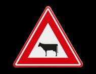 Verkeersbord RVV J28 - Vooraanduiding overstekend vee