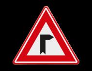 Verkeersbord - Vooraanduiding haakse bocht naar rechts